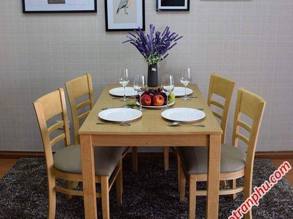 Bàn ăn cabin 4 ghế mặt gỗ BA002 (2)