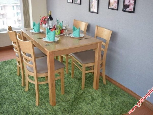 Bàn ăn cabin 4 ghế nệm mặt gỗ BA005 (3)