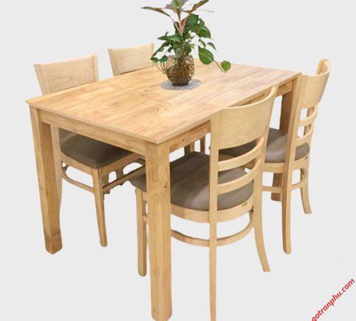 bàn ăn cabin 4 ghế nệm mặt gỗ
